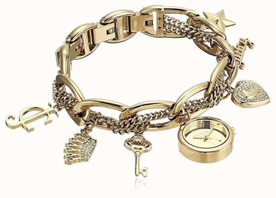 Juicy Couture Montre-bracelet à breloques en acier inoxydable doré pour femme JC-1040GPCH