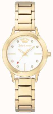 Juicy Couture Bracelet pour femme en acier inoxydable avec cadran blanc JC-1050WTGB