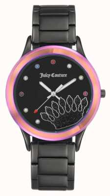 Juicy Couture Bracelet femme noir cadran noir avec lunette colorée JC-1053MTBK