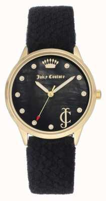 Juicy Couture Cadran noir femme | sangle en velours noir | boîtier ton or JC-1060BKBK