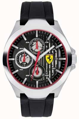 Scuderia Ferrari Cadran chronographe noir pour homme, bracelet en caoutchouc noir 0830510