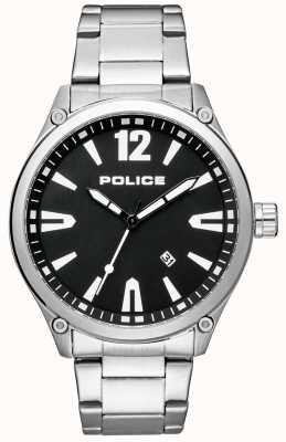 Police Bracelet en acier inoxydable de style intelligent pour hommes cadran noir 15244JBS/02M