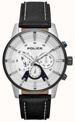 Police Cadran en cuir noir pour homme PL.15523JSTB/04