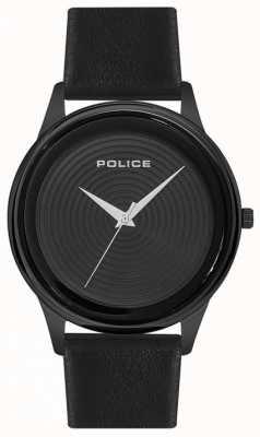 Police Cadran noir avec bracelet en cuir noir pour homme PL.15524JSB/02