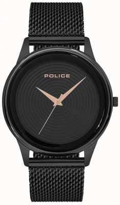 Police Bracelet style maille noire pour homme avec cadran noir PL.15524JSB/02MM
