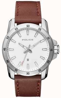 Police Cadran en cuir marron pour homme PL.15526JS/04