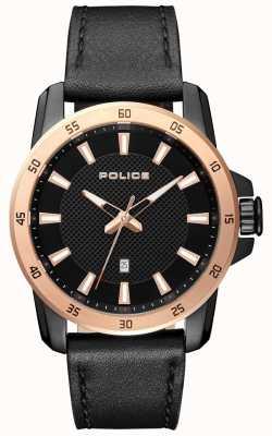 Police Cadran noir en cuir noir pour homme PL.15526JSBR/02