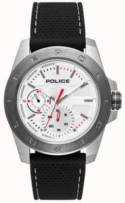 Police Cadran argenté en silicone noir PL.15527JSTU/04P
