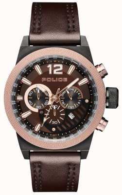 Police Cadran en cuir marron style urbain cadran brun PL.15529JSBBN/12