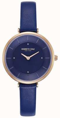 Kenneth Cole Montre à cadran bleu avec bracelet en cuir bleu pour femme KC50306005