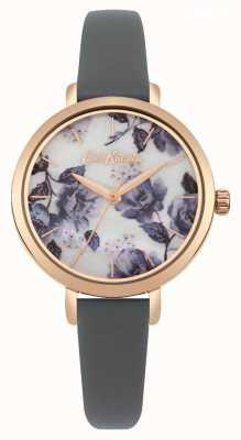 Cath Kidston Bracelet pour femme, bracelet à ton or rose, cadran à imprimé pavot CKL060ERG