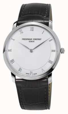 Frederique Constant Bracelet homme en cuir noir avec quartz mince FC-200RS5S36