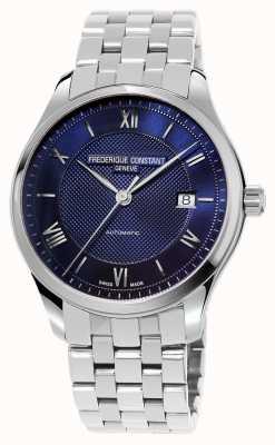 Frederique Constant Bracelet en acier inoxydable à cadran bleu pour homme FC-303MN5B6B
