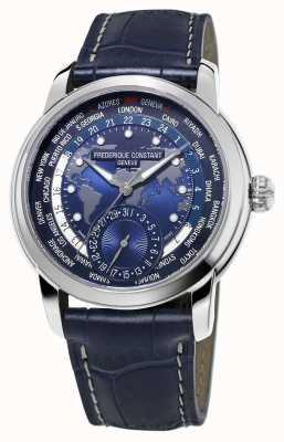 Frederique Constant Bracelet homme bracelet worldtimer bleu cadran bleu FC-718NWM4H6