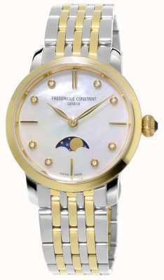 Frederique Constant Womens slimline moonphase quartz deux tons bracelet FC-206MPWD1S3B