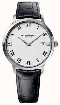 Raymond Weil Bracelet en cuir noir toccata blanc cadran blanc 5588-STC-00300