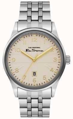 Ben Sherman Bracelet en acier inoxydable avec cadran blanc argenté pour homme BS017GSM