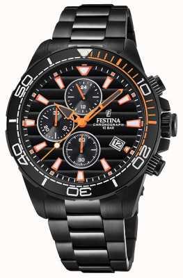 Festina Montre bracelet noir chrono pour homme en plaqué or noir F20365/1
