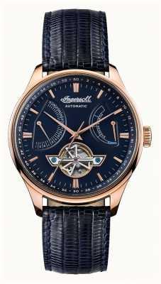 Ingersoll Mens hawley automatique cadran bleu bracelet en cuir bleu I04608
