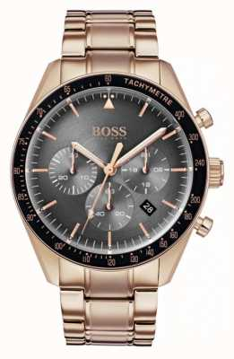 Hugo Boss Montre homme trophée gris cadran chronographe en or rose 1513632