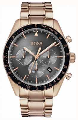 BOSS Montre trophée homme cadran chronographe gris ton or rose 1513632