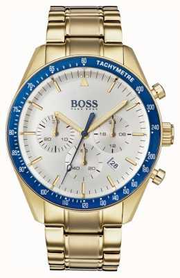 Hugo Boss Montre homme trophée blanc cadran chronographe couleur or 1513631