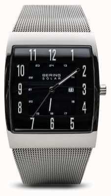 Bering Montre bracelet à maille carrée en argent poli pour homme 16433-002