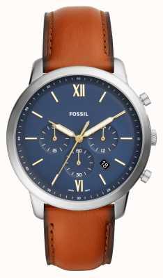 Fossil Montre chronographe homme neutra bleu chronographe bracelet en cuir marron FS5453