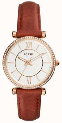 Fossil Womens carlie bracelet en cuir marron cadran blanc ES4428