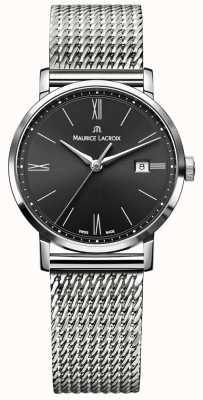 Maurice Lacroix Womens eliros milanais bracelet en acier inoxydable cadran noir EL1084-SS002-313-1
