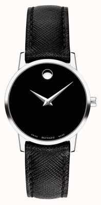 Movado Bracelet en cuir noir pour femme 0607204