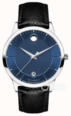 Movado Mens 1881 cadran bleu automatique bracelet en cuir noir 0607020