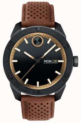 Movado Bracelet en cuir perforé brun foncé avec cadran noir 3600496