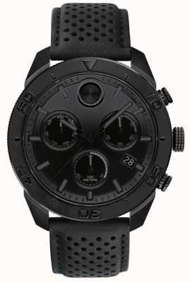 Movado Bracelet en cuir perforé chronographe noir gras pour homme 3600517