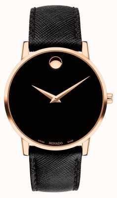 Movado Bracelet en cuir noir pour homme, boîtier en plaqué or 0607196