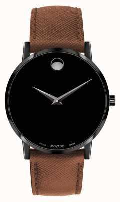 Movado Bracelet homme en cuir marron noir avec cadran noir 0607198
