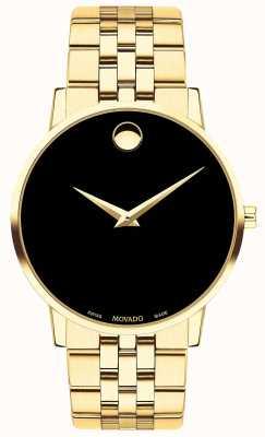Movado Bracelet pour homme musée plaqué or / cadran noir 0607203