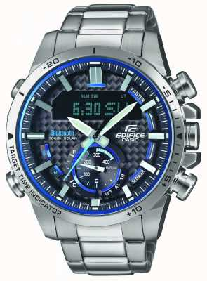 Casio Edifice bluetooth lap timer en acier inoxydable bleu accents ECB-800D-1AEF