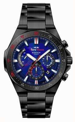 Casio Edifice toro rosso noir cadran bleu plaqué ip chrono EFR-563TR-2AER