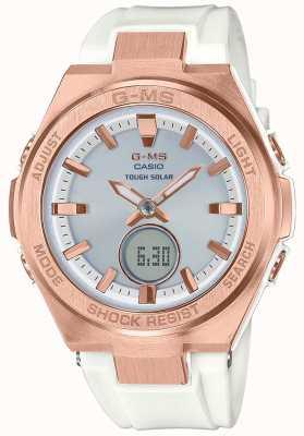 Casio G-ms bébé-g rose or dur bracelet blanc solaire MSG-S200G-7AER