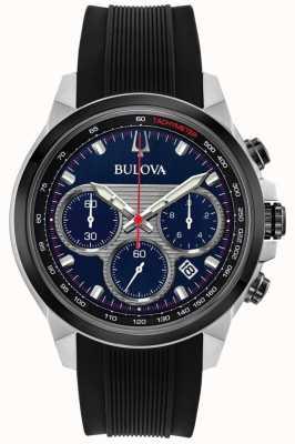 Bulova Montre homme a cadran bleu et bracelet en caoutchouc noir 98B314