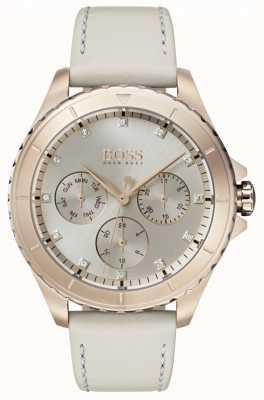 Boss Boitier plaqué or Premier pour femme, bracelet en cuir beige 1502447