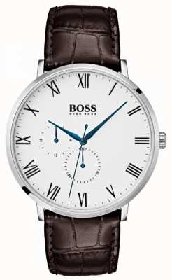 Boss Hommes william classic marron cuir cadran blanc 1513617