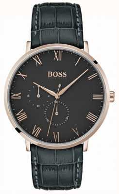Boss William Classic Etui en cuir gris foncé et cadran 1513619