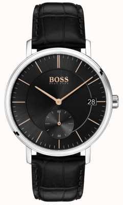 Boss Bracelet pour homme caporal en cuir noir avec cadran noir 1513638