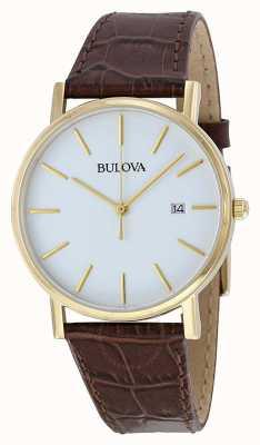 Bulova Montre classique en cuir marron pour homme 97B100
