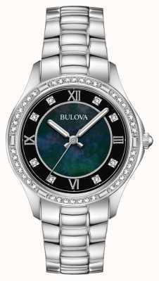 Bulova Montre en acier inoxydable sertie de cristaux pour femmes 96L266