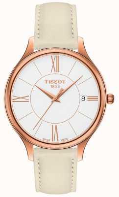 Tissot Bracelet bella ora en cuir gris pour femme T1032103601800