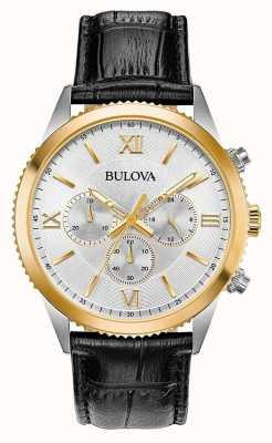Bulova Montre chronographe en cuir noir pour femme 98A218