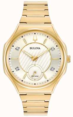 Bulova   curv   les femmes   bracelet de ton or   97P136